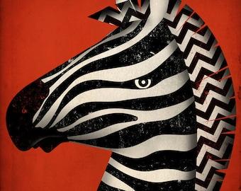 Striped Zebra original illustration giclee archival signed artist's print 12 x 12  by fowler creative arts
