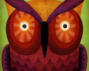 Wide eyed Owl original illustration giclee archival signed artist's print 12 x 12 by fowler creative arts