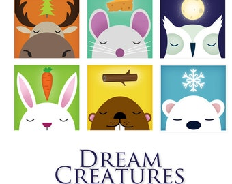 CHOOSE ANY THREE Dream Creatures Graphic Art Giclee Prints 12 x 12 by Ryan & Stephen Fowler - Signed