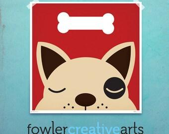 Dog Bone dream creatures kids art illustration giclee unframed signed artist's print by fowler creative arts
