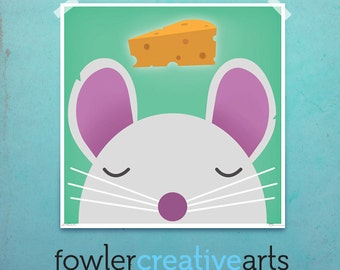Mouse cheese dream creatures kids art illustration giclee unframed signed artist's print by fowler creative arts
