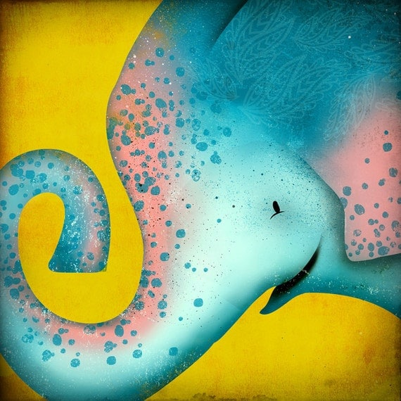 Spotted Elephant original illustration giclee archival signed artist's print 7 x 7 by fowler creative arts