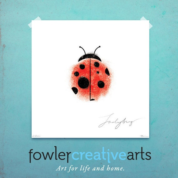 Ladybug illustration giclee archival signed artist's print 12 x 12 by fowler creative arts