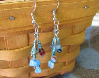 Turquoise and Glass Chip Dangle Resistor Earrings