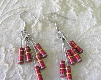 Red Resistor Dangle Earrings -- Eclectic