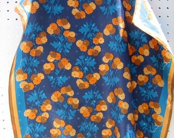 Blue & Orange Flower Scarf