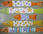 School of Five Hand Painted Caribbean Picket Fence Fish