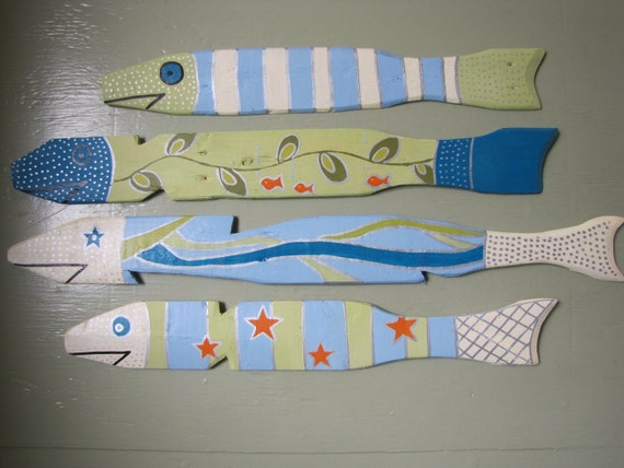 School of Hand Painted Fish Made From Salvaged Picket Fence