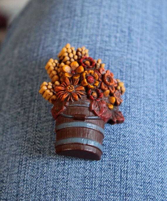 Hallmark fall bucket of flowers brooch
