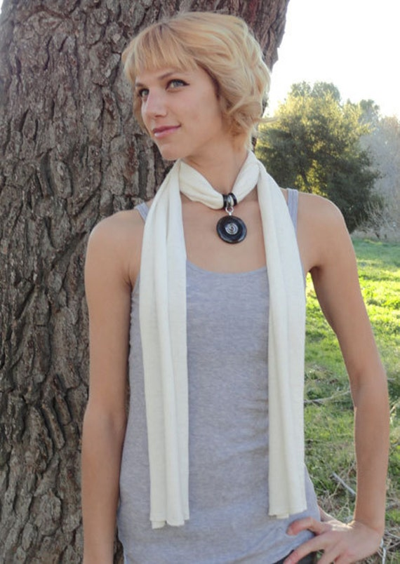 Chakra Healing Hemp Scarf Necklace with Reiki-Attuned Obsidian pendant - Gift under 50