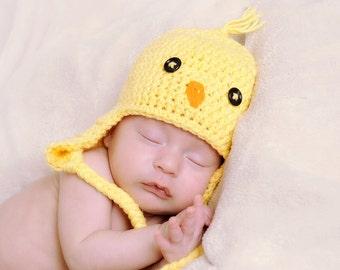 Crochet Baby Chick hat  - Newborn Yellow Chick Hat - Spring Bird Hat - Baby Bird - Newborn Photo Prop - Unisex Baby Shower Gift - Summer Hat