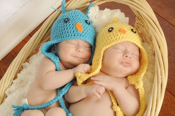 Ready to Ship - Baby Blue Bird Yellow Chick crochet earflap beanie hat Newborn Boy or Girl