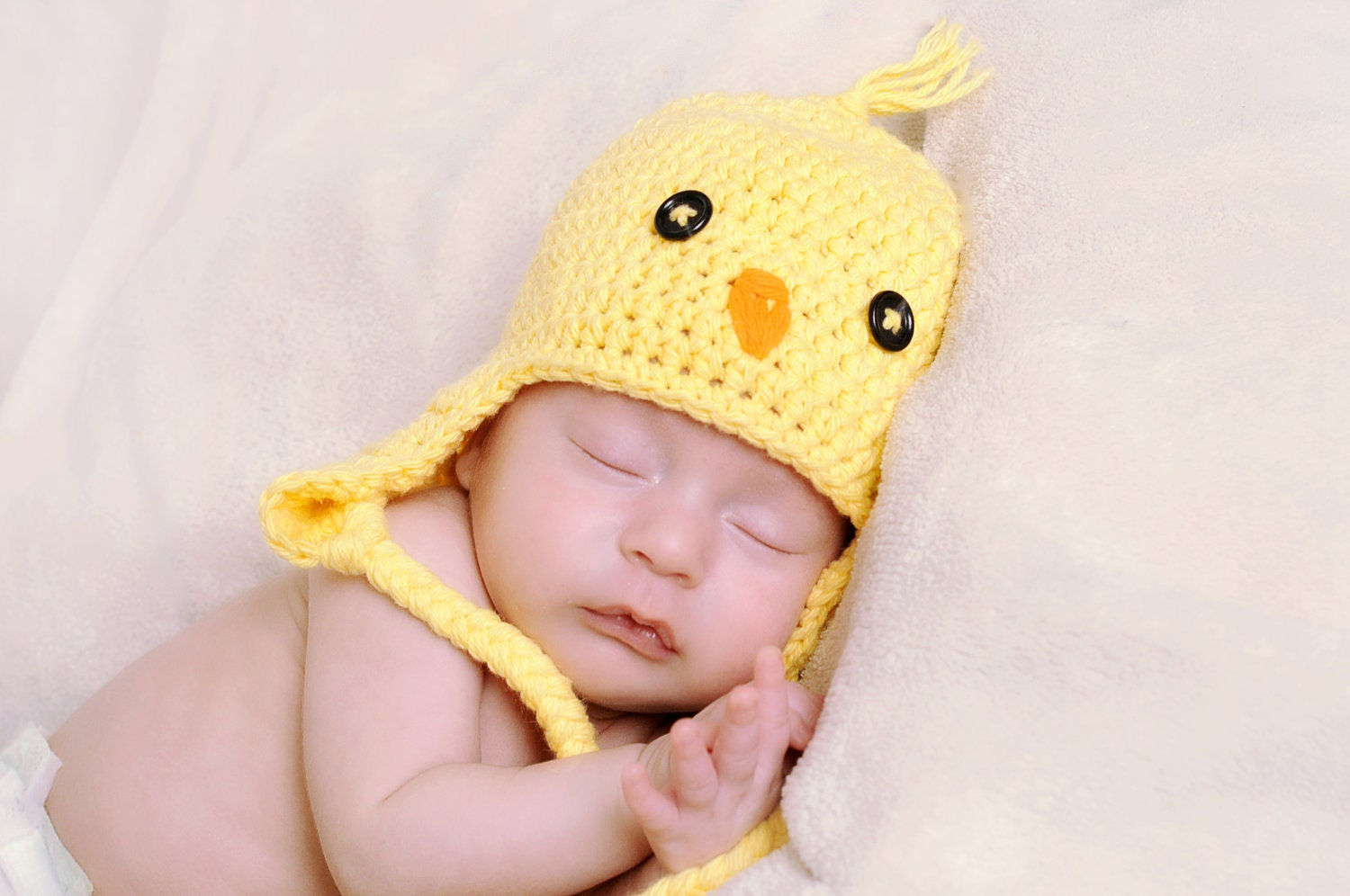 Crochet Baby Chick hat Newborn Yellow Chick Hat Spring