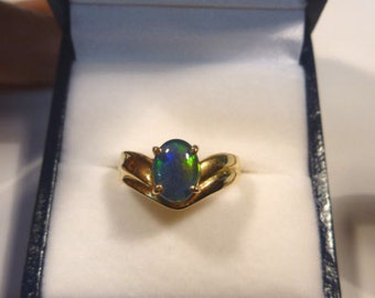 Ladies Opal Ring 14ct Yellow Gold  Claw Set 8x6mm Triplet Opal. item 30132.