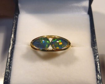 Ladies Opal Ring 14ct Yellow Gold 2 X 8x5mm Pear Shape Claw Set  triplets. item 30126.
