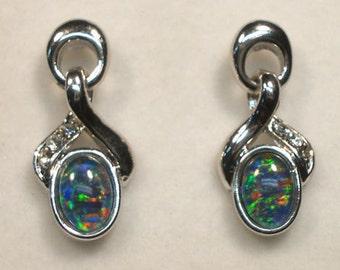 Opal Earrings Rhodium PlateTriplet 7x5 Oval tem 6563.