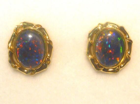 Opal Earrings Sterling Silver Gold Plate Triplet 8x6. item 30806.