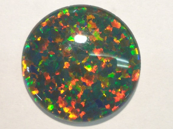 Synthetic Loose Triplet Opal Stone. 18 mm Round. item 5513.