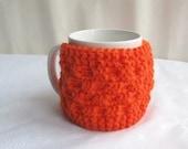 Knitted  Orange Cup Cozy, Mug Cozy, Tea Orange Cup Cozy, Coffee Cozy- Mothers day