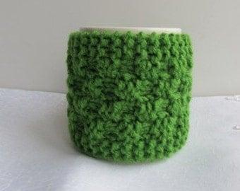 Knitting  Green Mug Cozy,Coffe Cup Cozy, Tea Cozy, CHOOSE YOUR COLOR