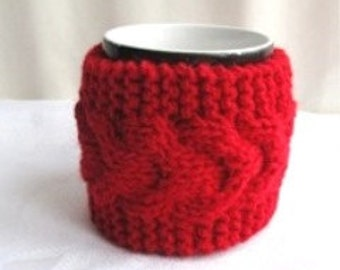 Knitted Red  Cup Cosy, Mug Cozy, Tea Cup Cozy, Warmer knitted