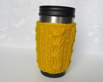 Knitted Mug Cozy, Yellow  Cup Cozy, Tea Cup Cozy,