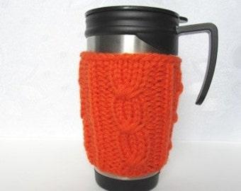Knitted Cup Cozy, Tea Orange Cup Cozy, Mug Cozy, Coffee Cozy,Christmas  Gift