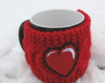 Red heart Mug Cozy, Cup Cosy, Mug Warmer knitted, red color - Gift for Mom