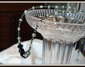 Black Crystal, Genuine Jade and Green Freshwater pearl Necklace (Swarovski)