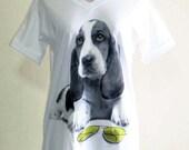 Dog Sun Glasses Yellow Eyes Animal Style V-Neck Unisex T-shirt White T-Shirt Screen Print Size M