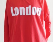 London Text Fashion Style Modern Unisex Long Sleeved Two Side Pockets Red T-Shirt Screen Print Size L