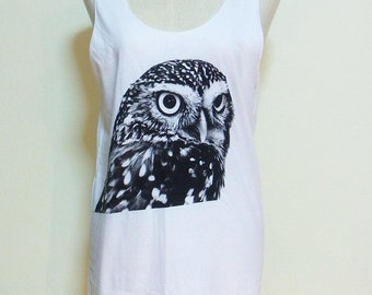Owl Bird Face Animal Style Owl Tank Top Women Shirt Animal T-Shirt White Tunic Screen Print Size M