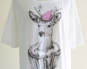 SALE Deer Cupcake Deer T Shirt Deer Tank Top Women tees Women T Shirts Style Front Short Than Back Crop Top Tee Shirt Screen Print Size L