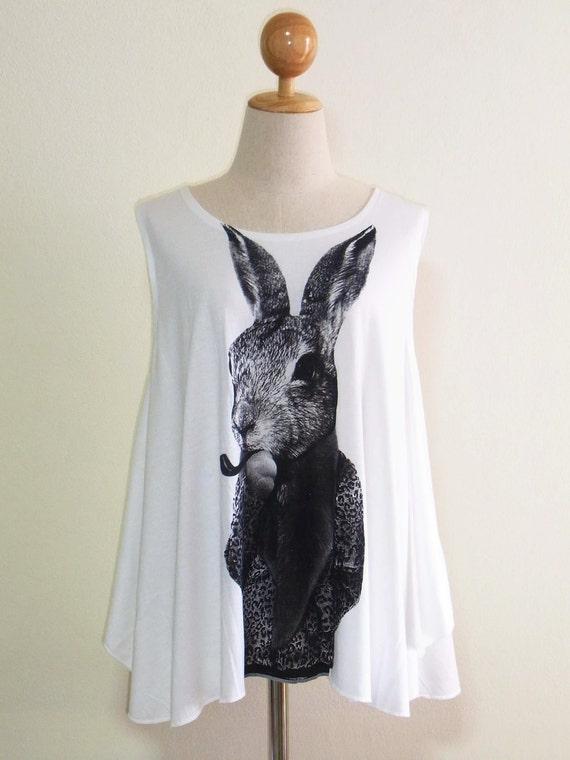 Rabbit Bunny Smart Cigar Animal Street Rabbit Tank Top Women T-Shirt Cream T-Shirt Tunic Screen Print Size M