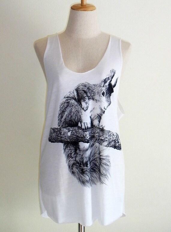 Squirrel Animal Style Fashion Women T-Shirt White Tunic Screen Print Size M