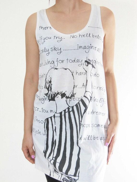 Teens Drawing Paint Text Art Design Women Tank Top Women T-Shirt Cream T-Shirt Screen Print Size M