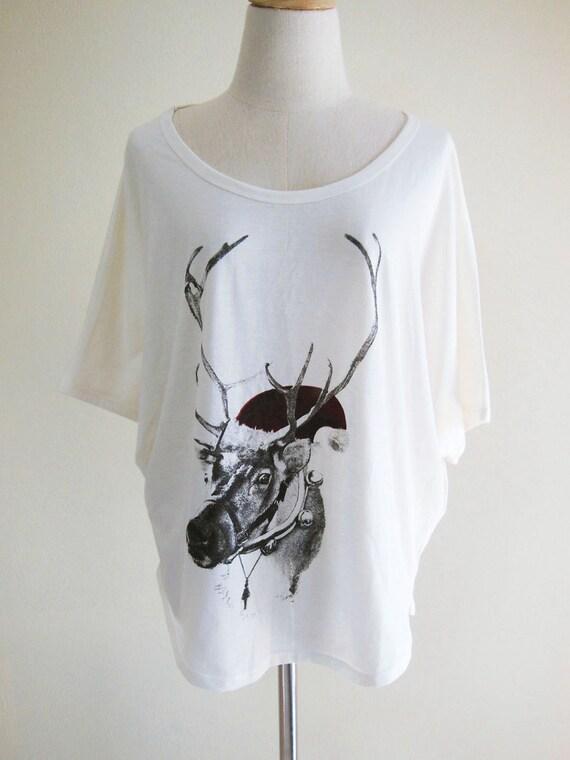 Dear Santa Christmas Holiday Reindeer Funny Animal Bat Sleeve Women T-Shirt Cream Short Sleeve T-Shirt Oversize Screen Print Free Size