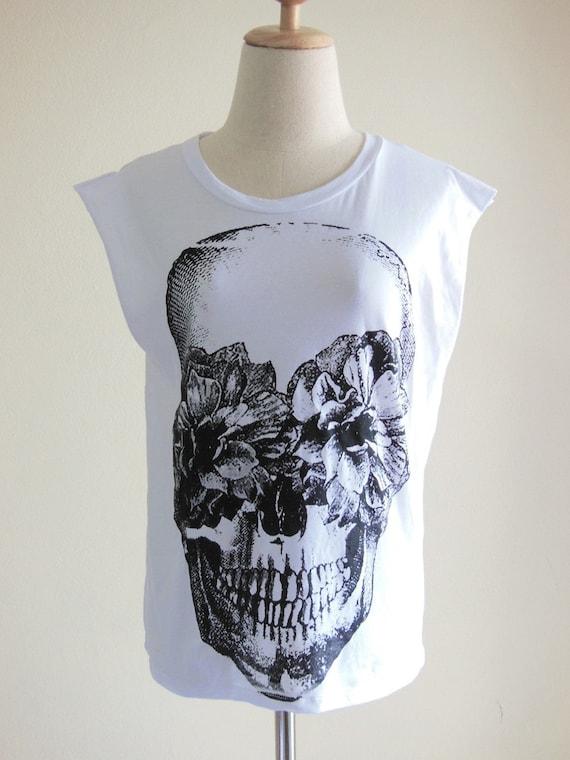 Skull Flowers Zombie Art Style Skull Tank Top Women T-Shirt White T-Shirt Tunic Screen Print Size M