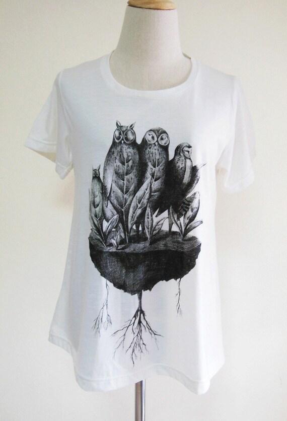 Owl Happy Funny Design Animal Art Fashion Design White T-Shirt Art T-Shirt Screen Print Size M