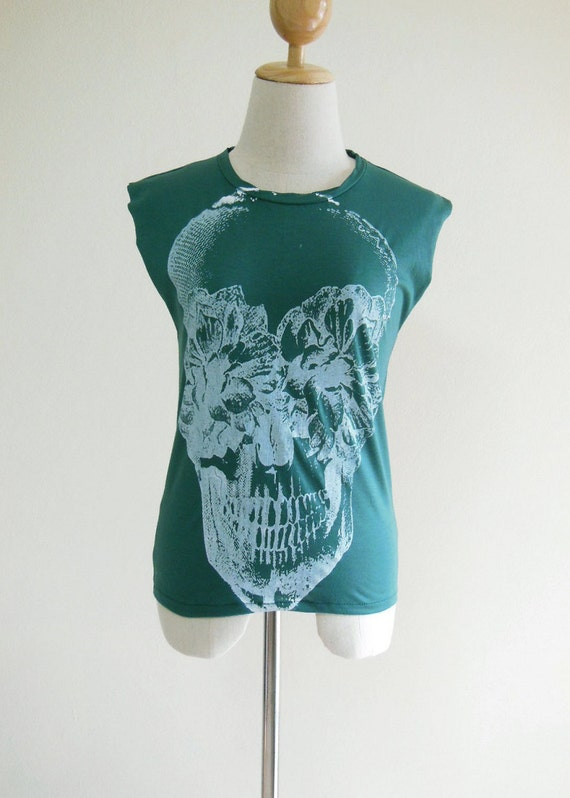 Skull Flowers Zombie Art Style Skull Tank Top Women T-Shirt Green T-Shirt Tunic Screen Print Size S