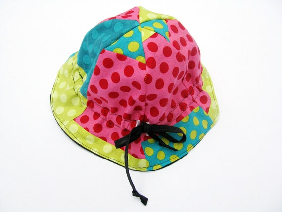 Baby-toddler cloche hat dot flower hat todded patchwork girl