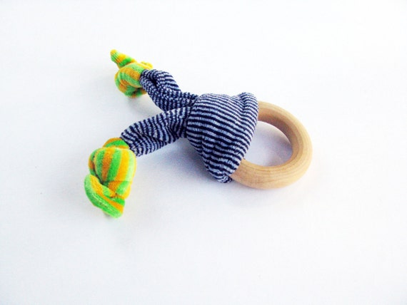 Wood and Fabric Ring Teether blue yellow and green (last one)