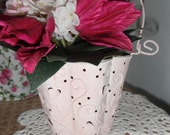 Shabby Chic tin basket, w handle and heart ,Free Shipping USA