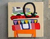 "Quilt art painting - Nursery ABCs art - ""Q is for Quilts"" - acrylic on canvas - multicolor - child, nursery, home décor"