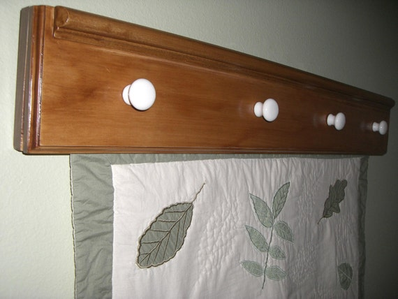 Wall Hanging Quilt Rack 36inches Pine Wood Stained In Walnut
