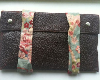 Vintage upcycled clutch leather bag 1930s free international posting shipping