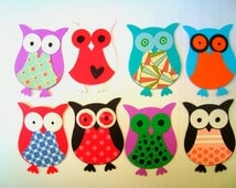Stampin Up Paper Owls, Scrapbooking Embellishments, Cute paper owls, Colorful owls, handmade owls, set of 8