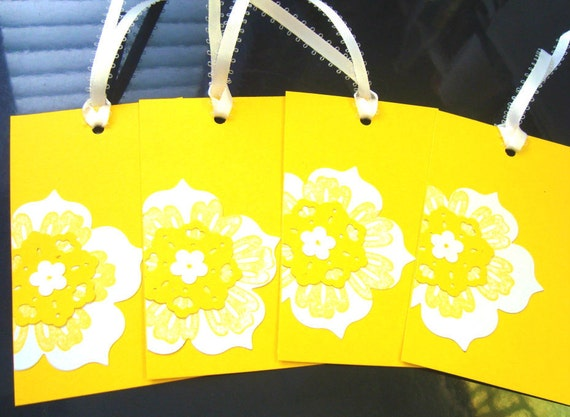 Custom order for Erica- 24 Bright Yellow Floral Gift tags, and 12 green tags