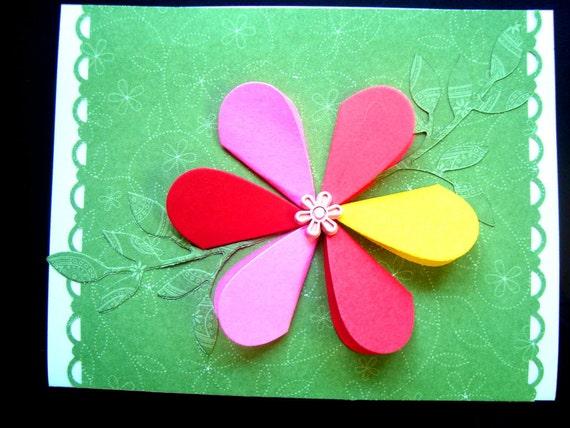 Flower Birthday Card bright petals handmade card