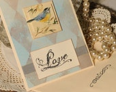 Blue Bird Love Card OOAK